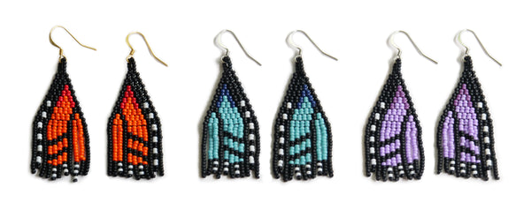 Monarch butterfly earrings made in Canada by Metis beader Bead 'n Butter.