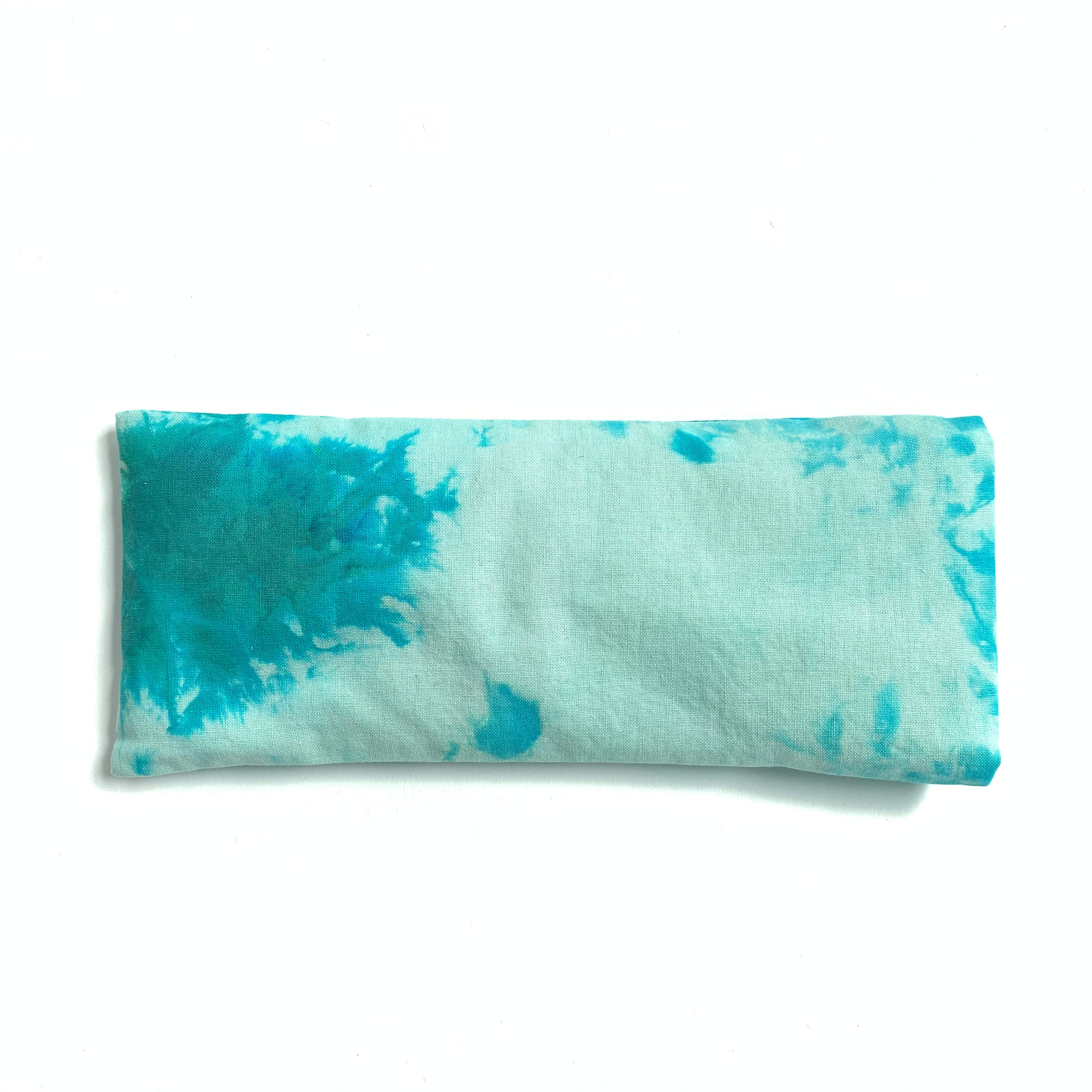 Lavender eye pillow with turquoise hand dyed marble design, made in Toronto, Ontario, Canada.