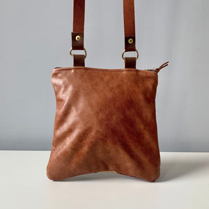 Made in Canada leather crossbody bag purse reverse side.