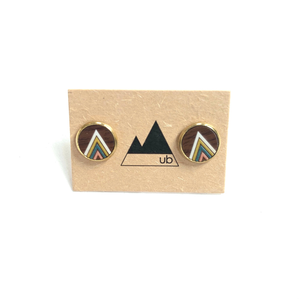 Made in Canada stud earrings with multi-coloured wood inside brass enclosure.