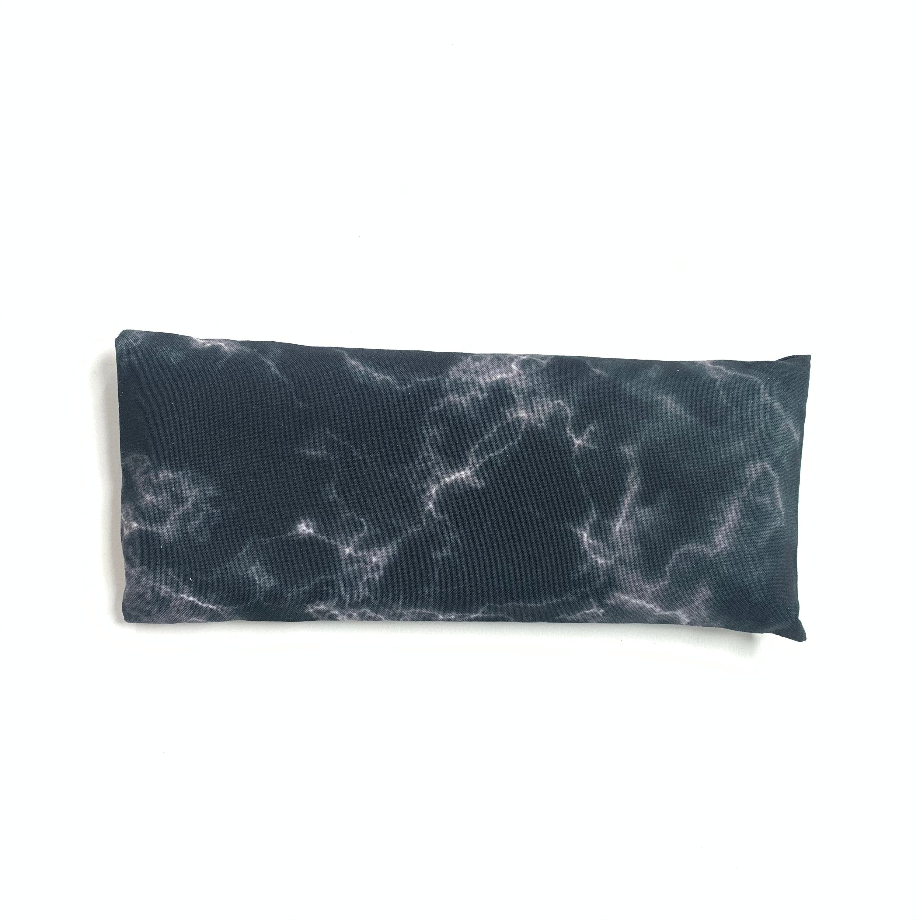 Lavender eye pillow with black and white hand dyed marble design, made in Toronto, Ontario, Canada.