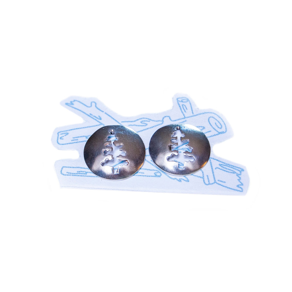 Made in Canada Silver tree stud earrings.