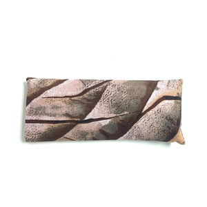 Lavender eye pillow with brown and auburn hand dyed marble design, made in Toronto, Ontario, Canada.