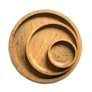 Made in Canada oak all purpose serving plates, various sizes.