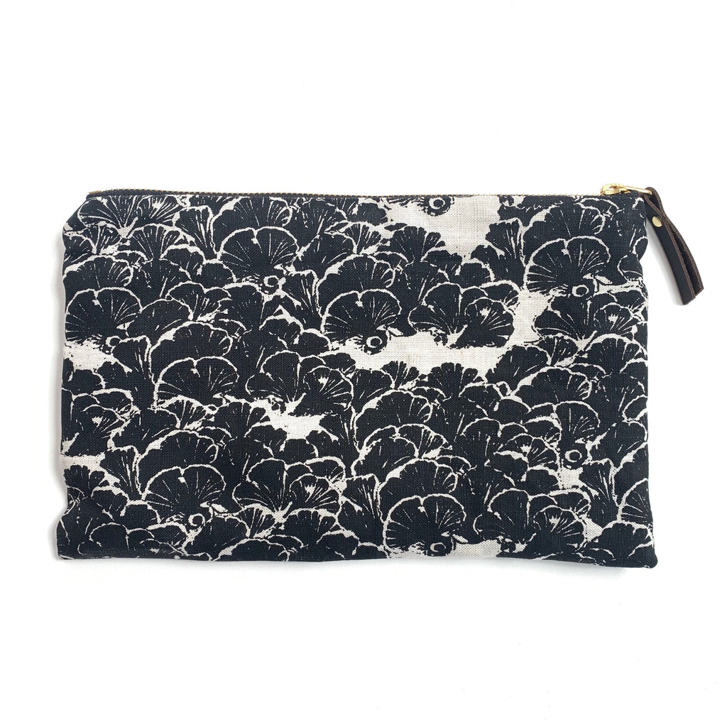 Linen pouch with black and white fungi design made in Hamilton, Ontario, Canada.