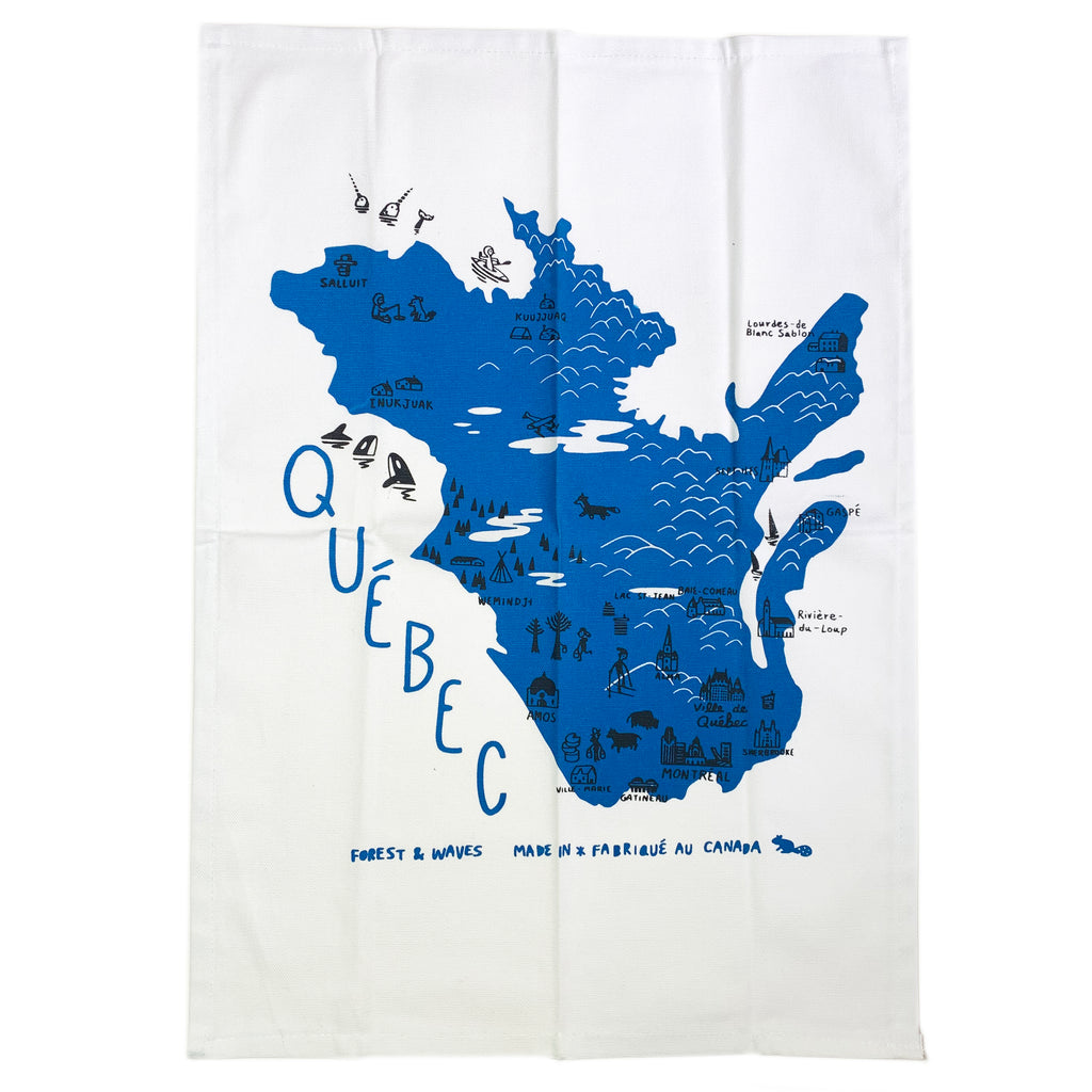 Quebec Linen Tea Towel - Forest and Waves