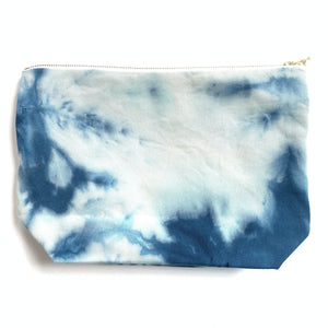 Made in Canada hand dyed blue and white zipper pouch.