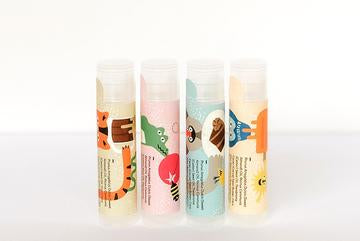 Canadian made kids natural lip balms with fun flavours and animal drawings.