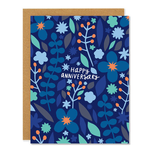 Made in Canada Happy Anniversary greeting card with blue, turquoise and orange flowers design.