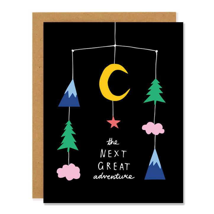 Made in Canada new baby greeting card with a drawing of a mobile with trees, clouds, mountains and the moon. Caption reads: the next great adventure.