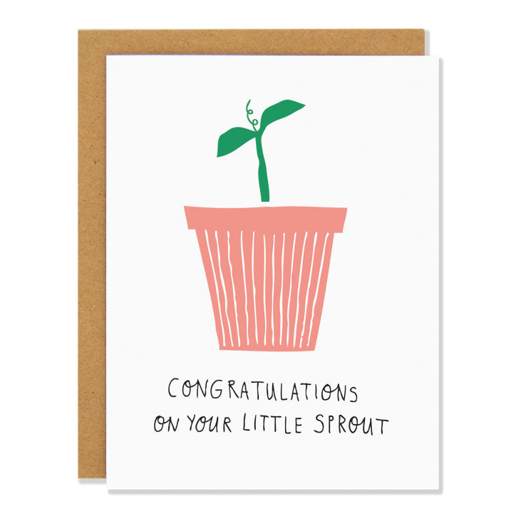 Made in Canada new baby greeting card with a drawing of a small green seedling in a pink pot. Caption reads: Congratulations on your little sprout