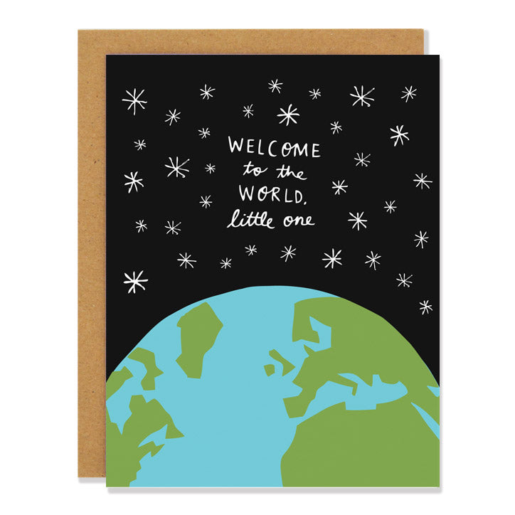 Canadian made new baby greeting card with a design of the Earth and stars in the sky. Caption reads: Welcome to the world little one