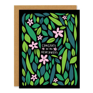 Canadian made wedding card with pink and green floral design. Caption reads: Congrats to the newlyweds