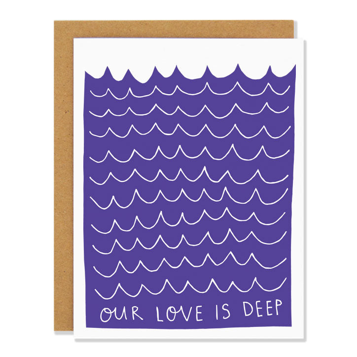 Made in Canada Love greeting card with a wavy indigo ocean design. Caption reads: Our Love is Deep