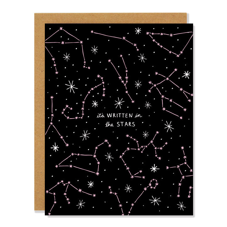 Made in Canada Love and friendship greeting card with constellation design. Caption reads: it's written in the stars