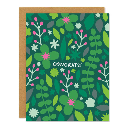 Made in Canada Congratulations greeting card with green and pink flower design. Caption reads: Congrats!