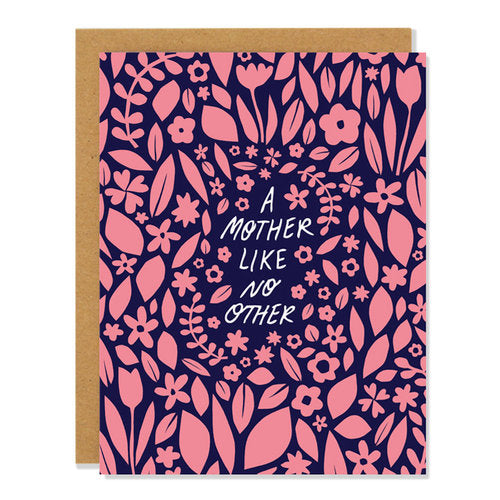 Canadian made mother's day card with pink floral design on navy background. Caption reads: A mother like no other