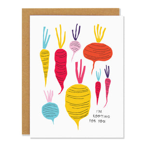 Canadian made encouragement greeting card with multicoloured root vegetable design. Caption reads: I'm rooting for you