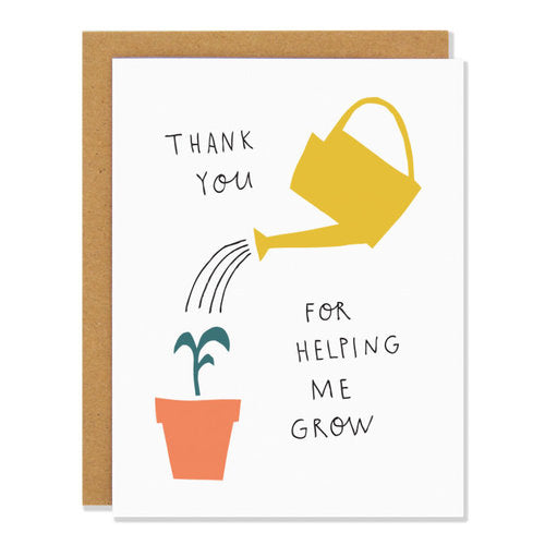 Made in Canada Thank You Card with yellow watering can giving water to a young seedling. Caption reads: Thank you for helping me grow