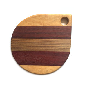 Made in Canada mixed wood teardrop charcuterie cheese serving board.