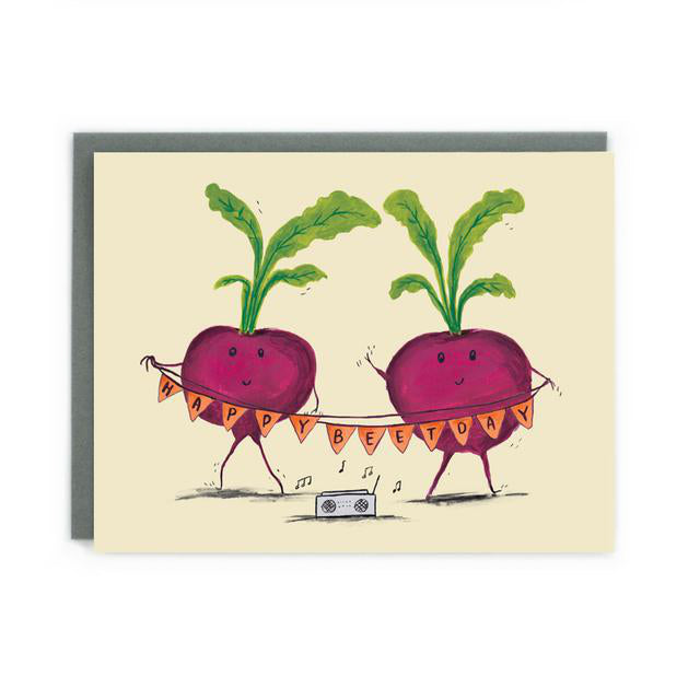 Canadian made birthday card with silkscreen drawing of two dancing beets with a boombox and a banner reading Happy Beet Day.