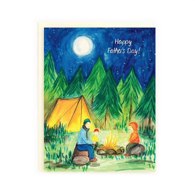 Canadian made fathers day card, hand painted scene of a father and child around a campfire with a tent and forest in the moonlight. Caption reads: Happy Father's Day!
