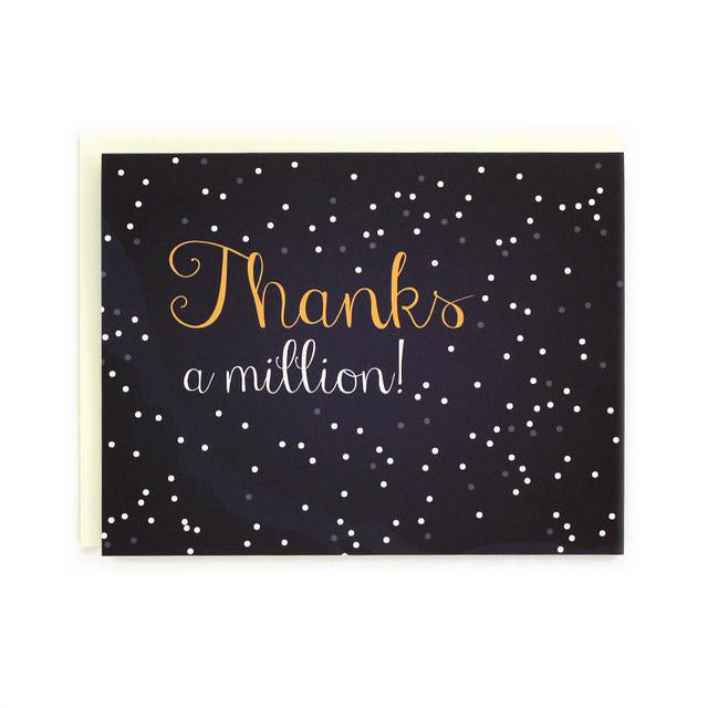 Made in Canada Thank You card, hand drawn starry night sky with caption: Thanks a million!
