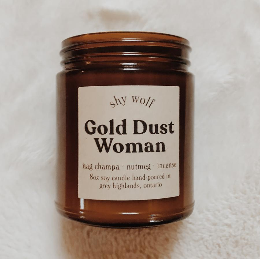 Made in Canada Gold Dust Woman natural soy candle scented with nag champa, nutmeg, incense.