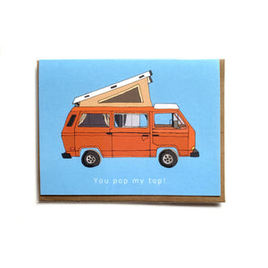 Made in Canada camping themed card with orange vintage VW camper van, pictured with envelope.