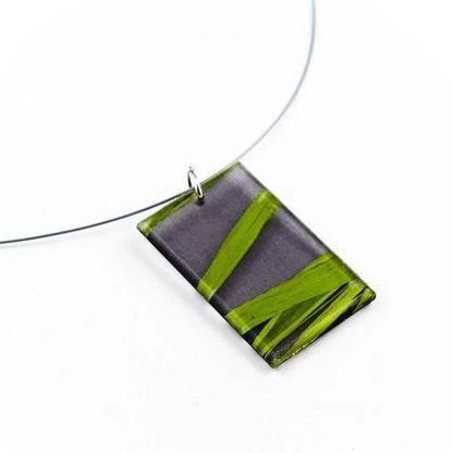 Made in Canada natural black eco resin and green seaweed necklace.