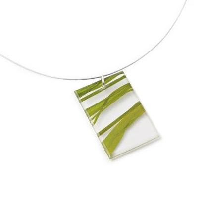 Made in Canada natural eco resin and green fossil leaf necklace.