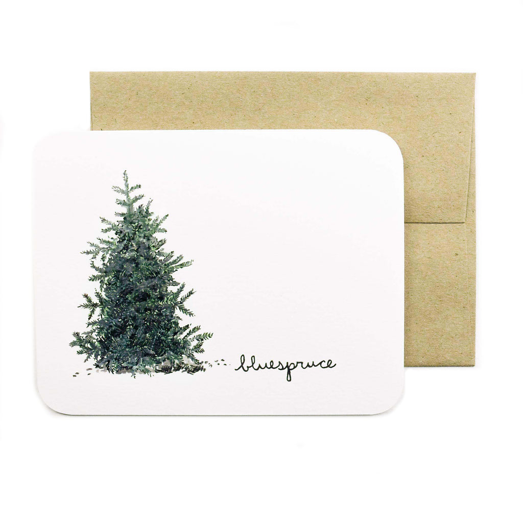 Made in Canada greeting card with drawing of a blue spruce tree.