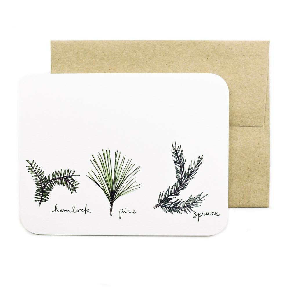 Made in Canada greeting card with drawing of hemlock, pink and spruce sprigs.