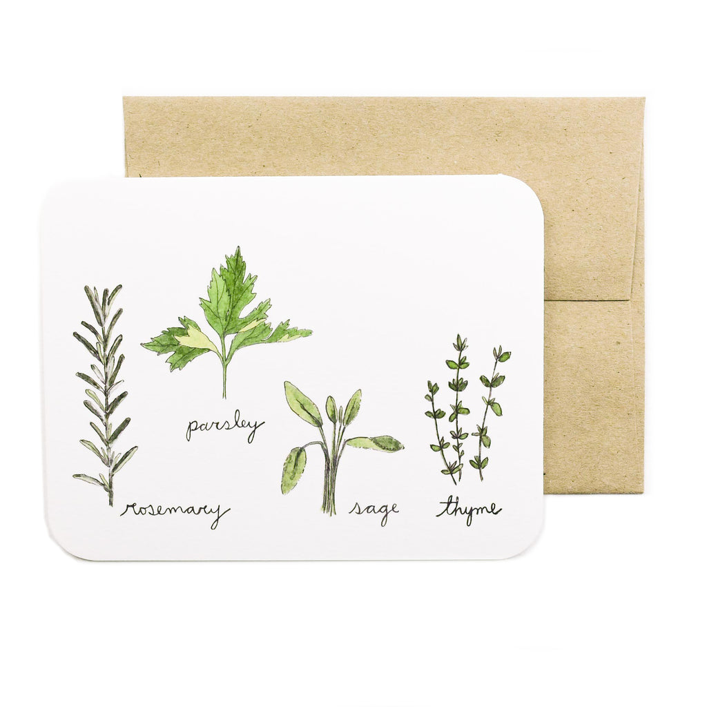Made in Canada greeting card with drawing of rosemary, parsley, sage and thyme sprigs.