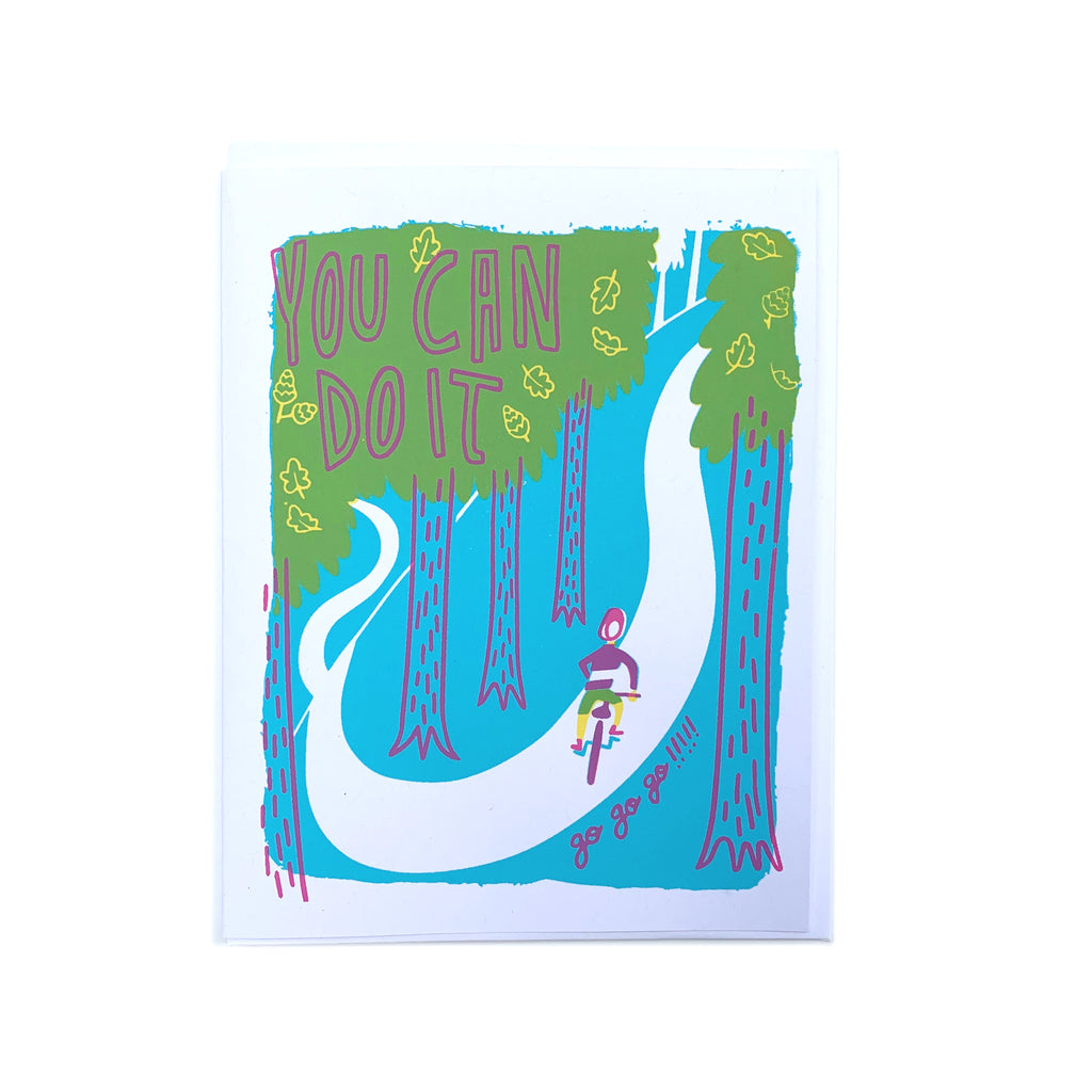"""Cycling"" Encouragement Card - Forest and Waves"