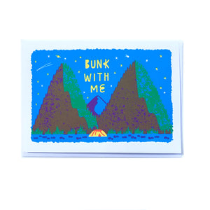 Made in Canada friendship greeting card with silkscreen drawing of a yellow tent with mountains in the background and a starry night sky above. Caption reads: Bunk with me
