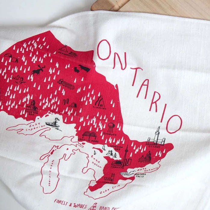 Made in Canada linen tea towel with red Ontario silkscreen print.