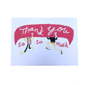Canadian made Thank You greeting card with silkscreen design of two people portaging and holding a canoe over their heads. Caption reads: Thank you so so much