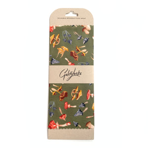 Made in Canada beeswax food wrap with colourful wild mushroom pattern.