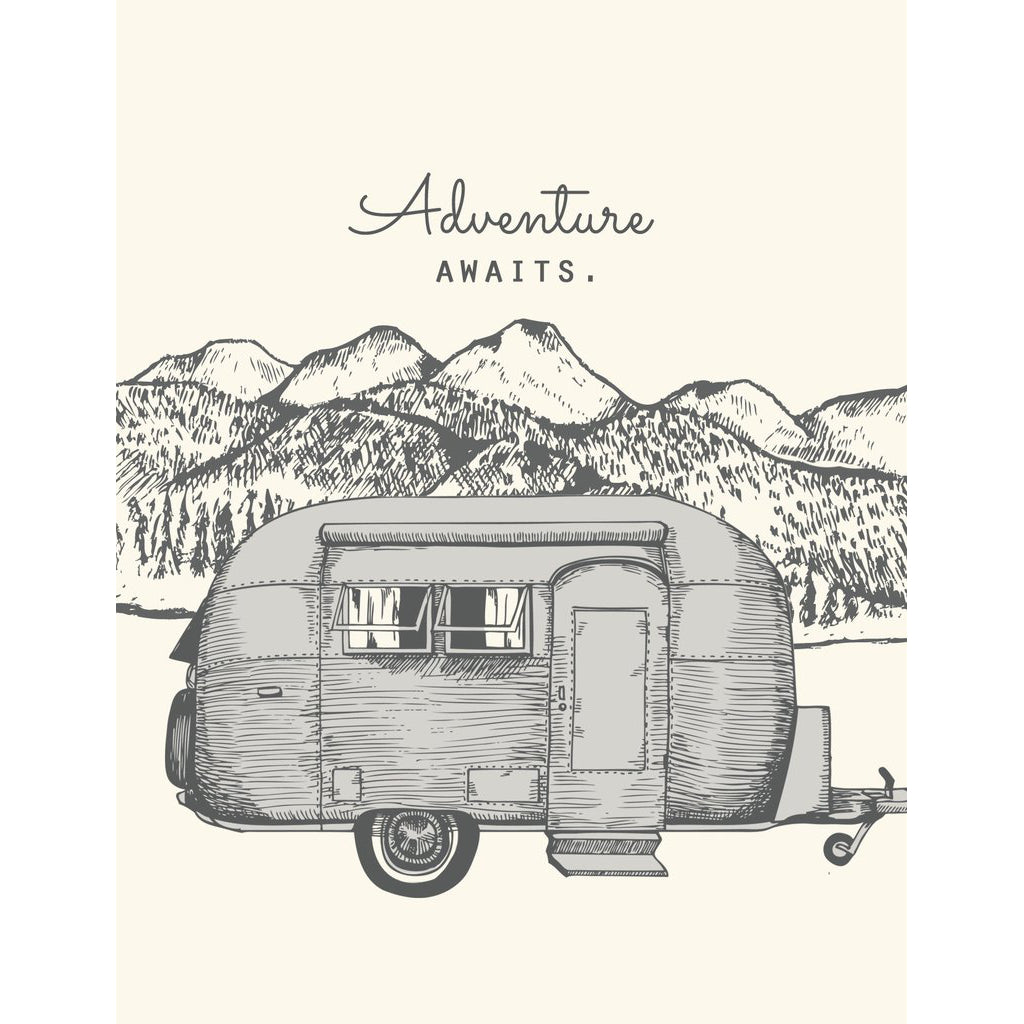 Made in Canada greeting card with caption: Adventure Awaits. Airstream camper with trees, mountains and river in background.