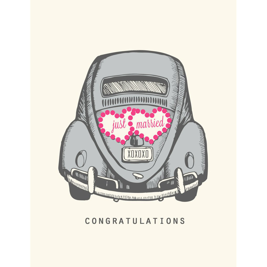 Made in Canada wedding card with silkscreen drawing of a vintage Volkwagen Beetle with Just Married heart decal. Caption reads: Congratulations