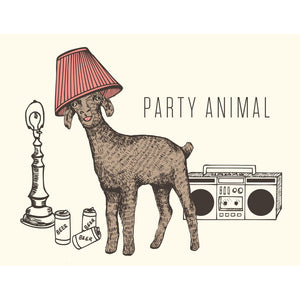 Canadian made birthday card with a silkscreened drawing of a goat with a lampshade on its head, and a boombox and empty beer cans on the floor. Caption reads: Party Animal