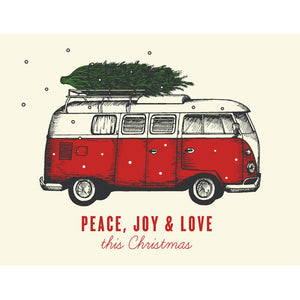 Canadian made Christmas Card with silkscreen drawing of a red and white Volkswagen camper bus with a xmas tree on top. Caption reads: Peace, Joy and Love this Christmas