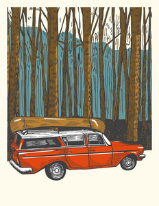 Made in Canada Greeting card with silkscreen drawing of a vintage station wagon driving through a mountainous forest with a wooden canoe on the roof.