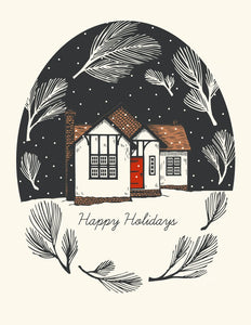 """Snowy Cottage"" Holiday Card - The Good Days Print Co."
