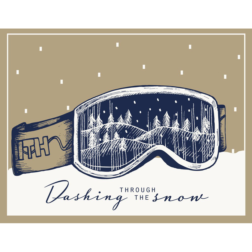 Made in Canada skiing themed Holiday Card, with silkscreen drawing of Smith ski goggles with a wintry scene reflecting in the lens. Caption reads: Dashing through the snow