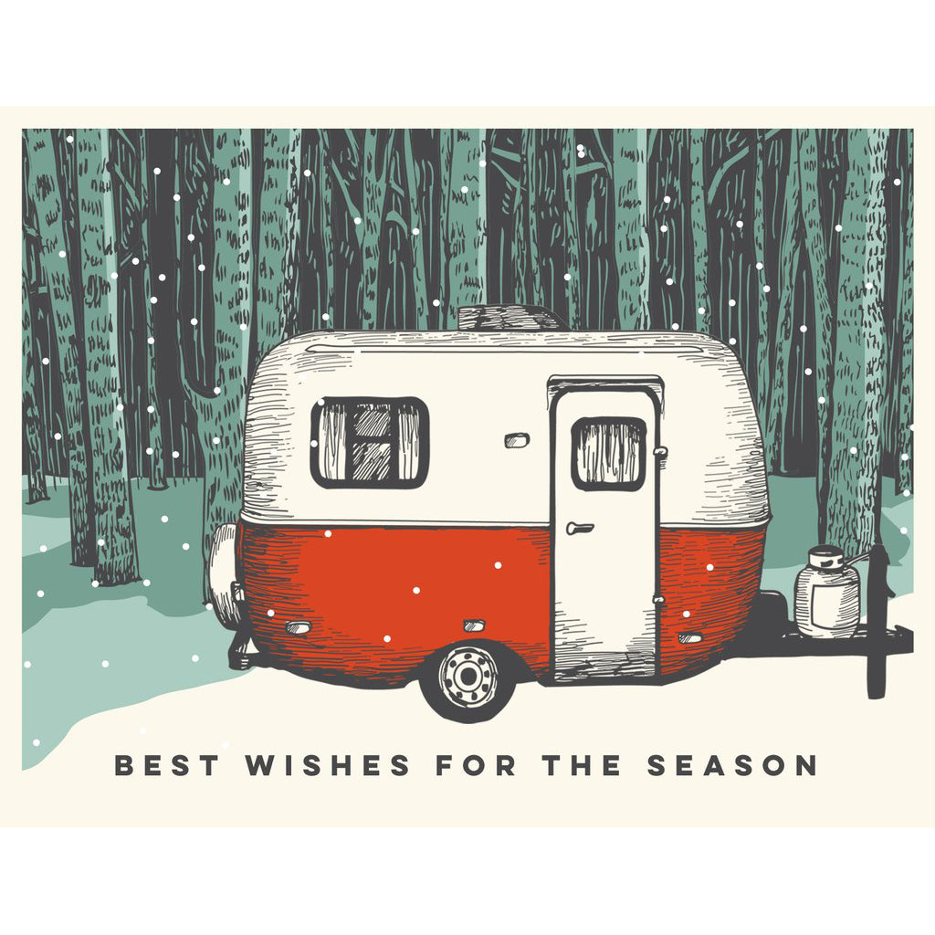 Made in Canada camping themed holiday card with silkscreen drawing of a Boler camper trailer in a snow covered forest. Caption reads: best wishes for the season