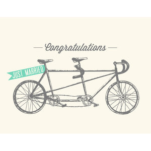 Made in Canada wedding card with drawing of a tandem road bike, with a Just Married flag flying on the back. Caption reads: Congratulations