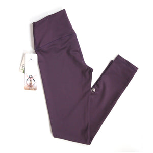 Made in Canada eggplant purple yoga leggings made from recycled pop bottles.