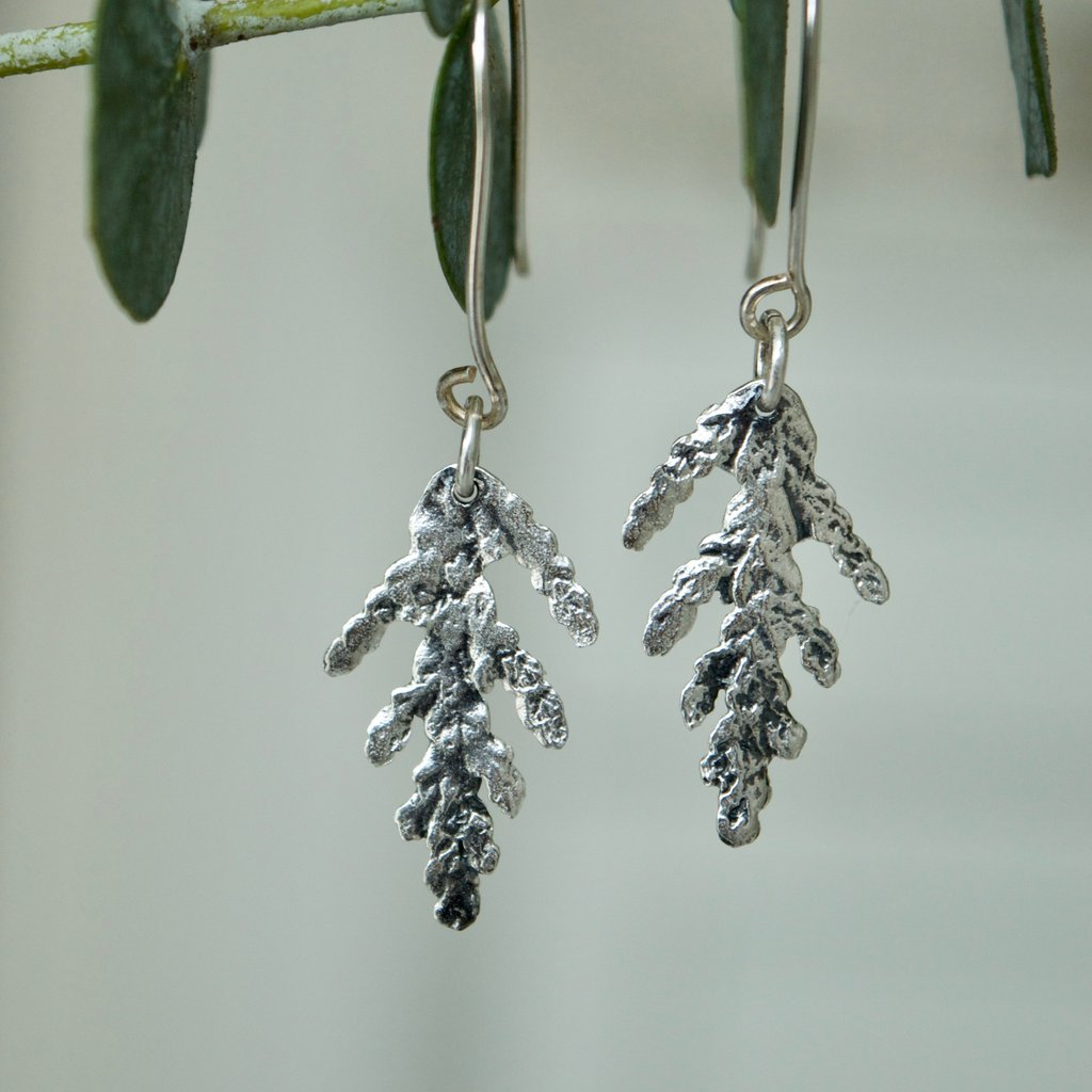 Made in Canada Justine Brooks silver cedar leaf drop earrings hanging on a fresh green eucalyptus sprig.